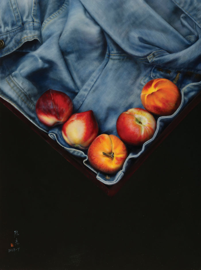 zhangliang_Chinese-realist-painter_The-Peaches